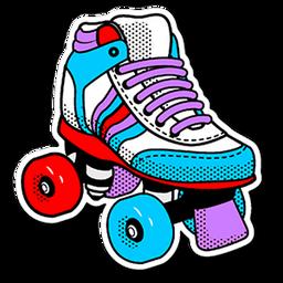 80 S Roller Skates Sticker Sticker Mania