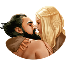 Khaleesi and Khal Drogo kissing