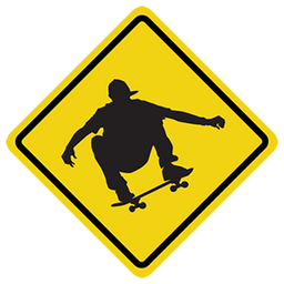 Skateboarding Road Sign Sticker