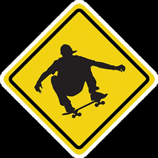 Skateboarding Road Sign Sticker