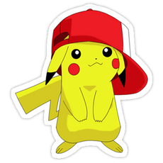 Pikachu in Ash Ketchum Cap Sticker