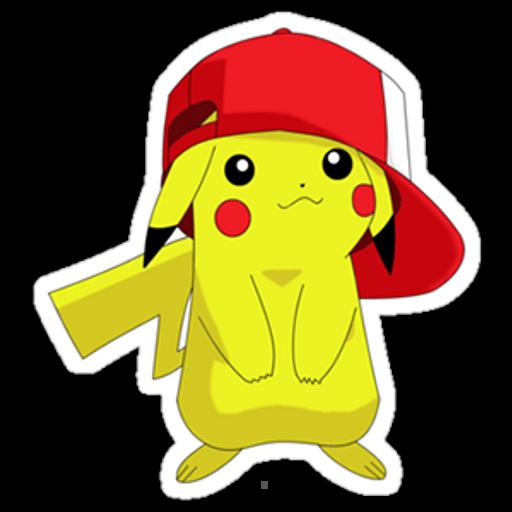 Pikachu in Ash Ketchum Cap Sticker