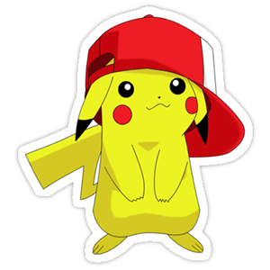 Pikachu in cap with white background