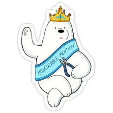 "We Bare Bears Ice Bear ""Honorable Mention"" sticker"