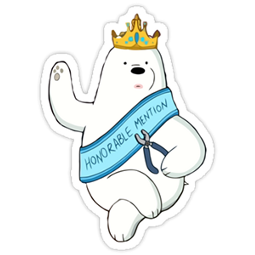 """We Bare Bears Ice Bear """"Honorable Mention"""" sticker"""