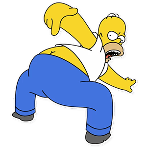"Homer Simpson ""Kiss my Yellow Butt!!"" Sticker"