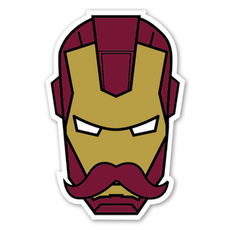 Marvel Mustache Iron Man Sticker