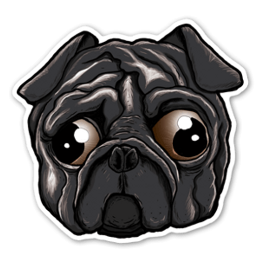 Black Sad Eye Pug Sticker