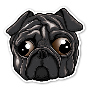 Sad eye Pug sticker