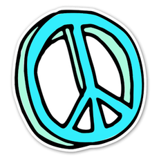 Teal Symbol Of Peace Sticker