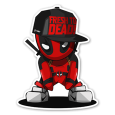 Mini Deadpool in cap sticker