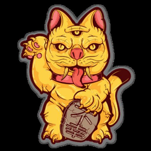 Japanese Maneki-Neko Cat Demon Santa Cruz Sticker
