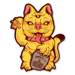 Japanese Maneki-neko Cat Demon Santa Cruz sticker