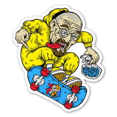 Breaking Bad Walter White on Skateboard Sticker