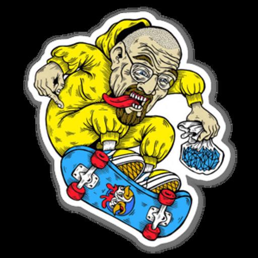 Breaking Bad Walter White on Skateboard Sticker