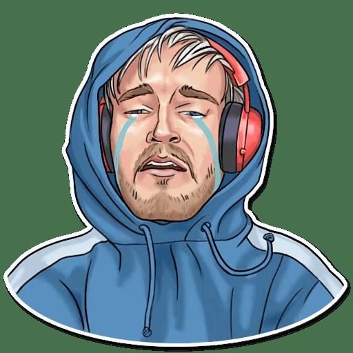 PewDiePie Hoodie Cry Sticker