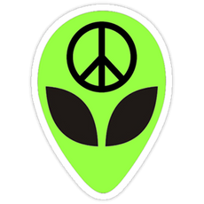 Green Alien Peace Sticker