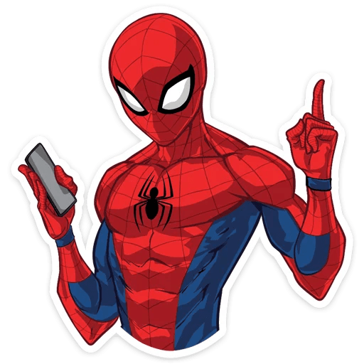 Spider-Man with Phone Sticker