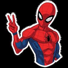 Spider-Man Showing Peace Sticker