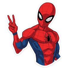 Spider-Man Showing Peace Sticker