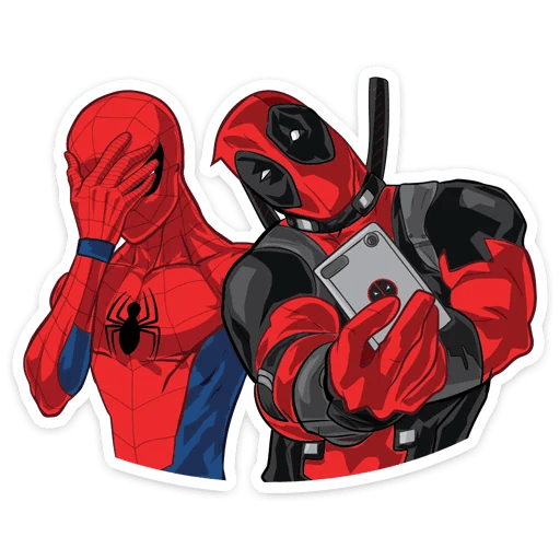 Spider-Man Facepalm with Deadpool Selfie Sticker