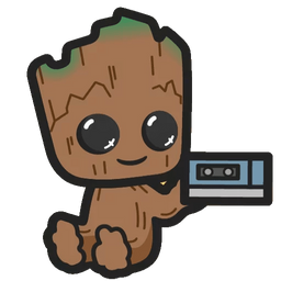 Marvel Chibi Groot with a Mixtape Sticker