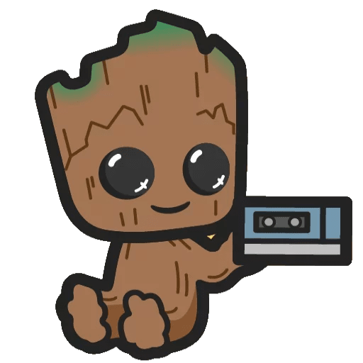 Marvel Groot with a mixtape