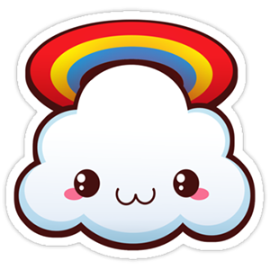 Kawaii Cloud with Rainbow Sticker