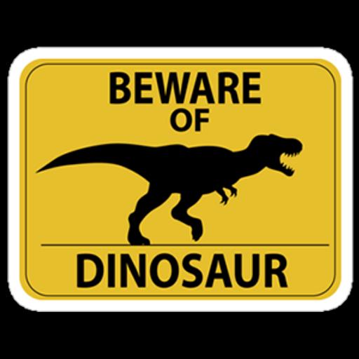 Beware of Dinosaur Road Sign Sticker