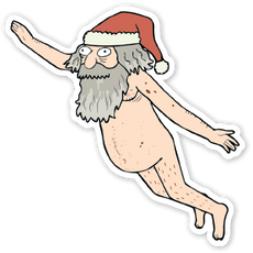 Rick & Morty Giant Naked Sky Santa sticker
