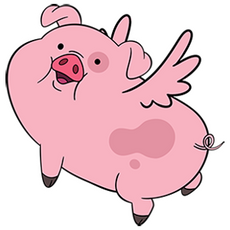 Gravity Falls - Waddles Piggy Angel sticker