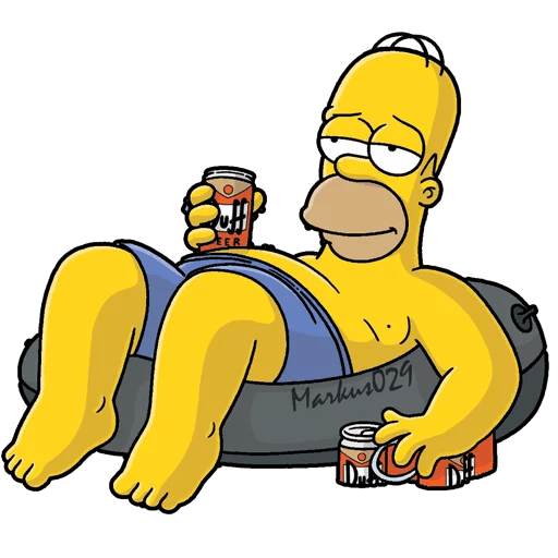 Homer Simpson Tire Tube Swimming with a Beer