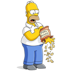Homer Simpson with Pork Rinds