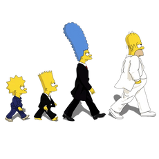 Simpsons Family Beatles Abbey Road