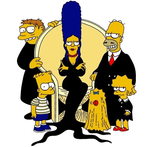 Simpsons Adams Family Cover Sticker