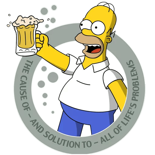 Homer Simpson Beer The Cause and Solution Sticker
