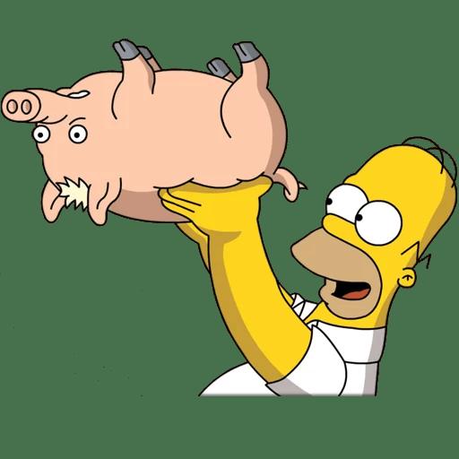 """Homer with Plopper the Pig """"Spider-Pig"""" Sticker"""
