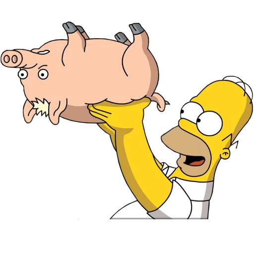 "Homer with Plopper the Pig ""Spider-Pig"""