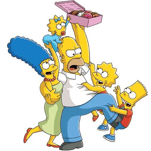 Simpsons Family Donut Sharing