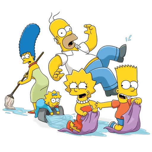 Simpsons Family Cleaning the House Sticker