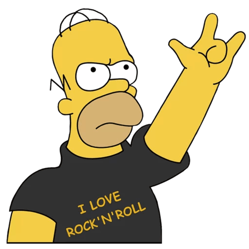 Homer Simpson I Love Rock and Roll Sticker