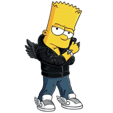 Bart Simpson Posing as Jeremy Scott Sticker