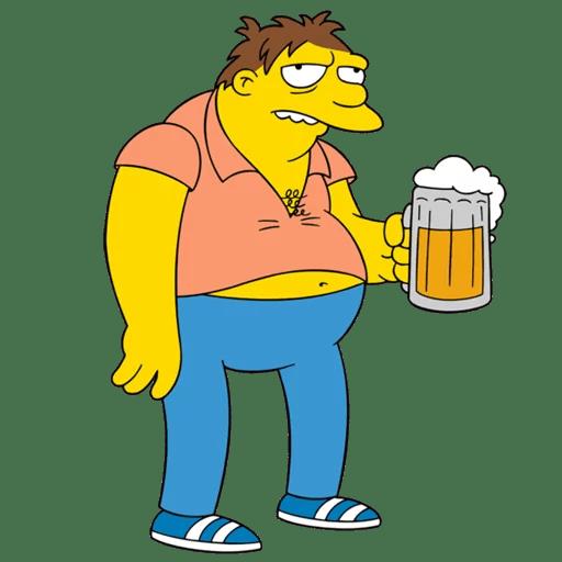 The Simpsons Barney Gumble BEER Mug Sticker