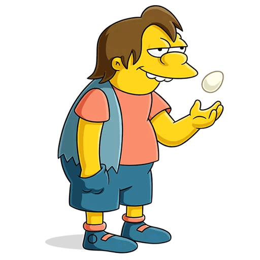 The Simpsons Nelson Muntz with an Egg