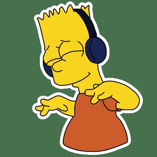 Bart Simpson In Headphones Listening Music Sticker