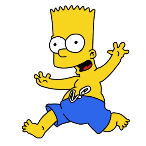 Bart Simpson Swimming in Blue Shorts