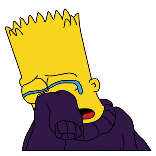 Bart Simpson Crying in a Sweater Sticker