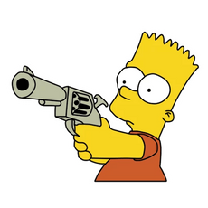 Bart Simpson with a Gun Sticker