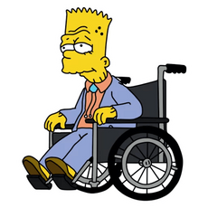 Old Bart Simpson on a Wheelchair Sticker