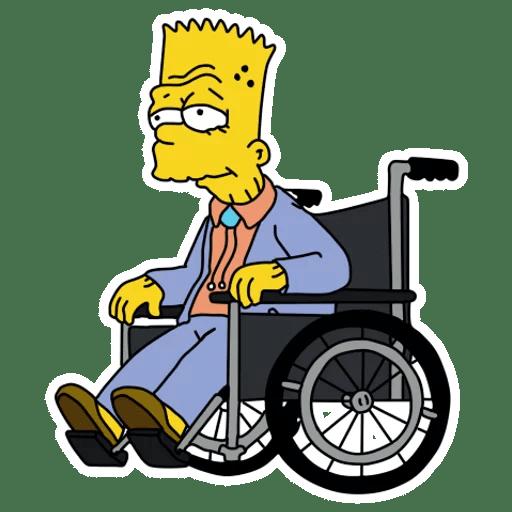 Old Bart Simpson on a Wheelchair Sticker